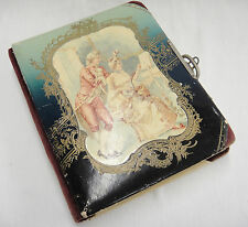 Antique Picture Album Velvet Spine and Corners Victorian Couple on Cover As Is