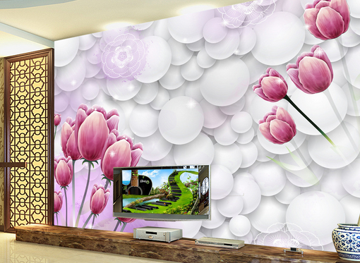 3D Round Balls Tulip 8 Wall Paper Murals Wall Print Wall Wallpaper Mural AU Kyra