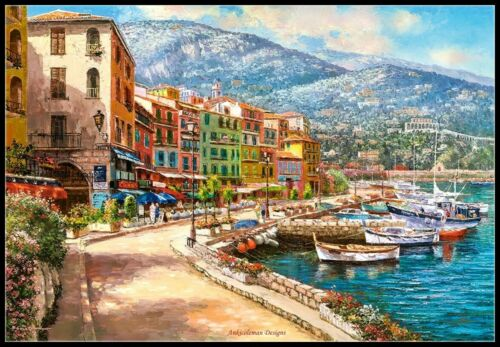 The French Riviera Chart Counted Cross Stitch Patterns Needlework DIY DMC
