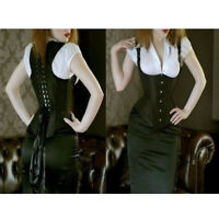 PLUS SIZE Burlesque Underbust Waist Cincher Corset Long Gothic Satin 5X 6X