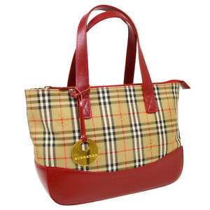 BURBERRY House Check Hand Bag Purse Beige Red Canvas Leather Auth 35677