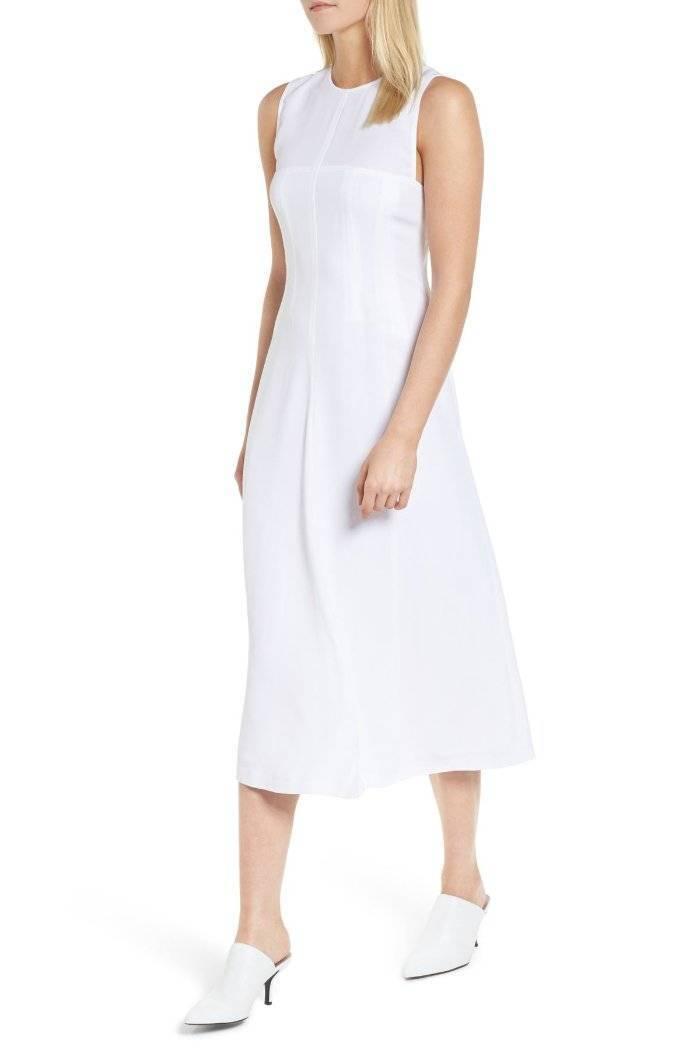 Lewit Corset Seamed Sleeveless Midi Dress White 6  379