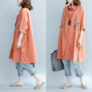 Oversize-Women-Long-Shirt-Dress-Cotton-Linen-Embroidery-Loose-Rusty-Red-Blouse