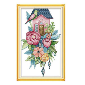 Flowers-Bird-Stamped-Cross-Stitch-Kit-14-Counted-for-Beginners-DIY-Crafts