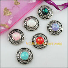 6Pcs Tibetan Silver Tone Flower Oval Red Turquoise Charms Pendants 16x23mm