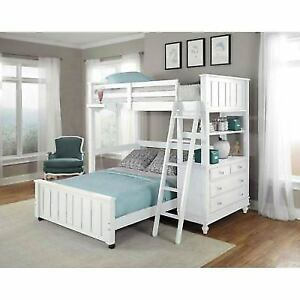 Ne Kids Lake House White Twin Loft With Full Lower Bed 1040nlfb Ebay