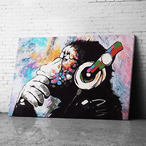 DJ Monkey Chimp Banksy Canvas Wall Art Prints Framed Large Graffiti Pictures