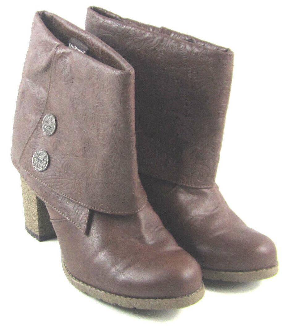 Muk Luks Booties Womens Chris Floral Design Cuff Block Heel Brown Size 9 WPL6134