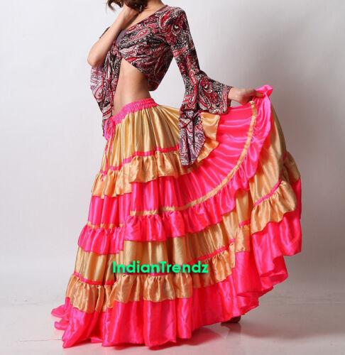 LGold//DeepPink Satin 6//12//25 Yard Tiered Gypsy Frill Skirt Belly Dance Flamenco