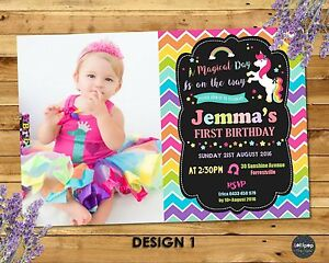 Image Is Loading UNICORN PARTY INVITATION 1ST FIRST BIRTHDAY INVITES RAINBOW