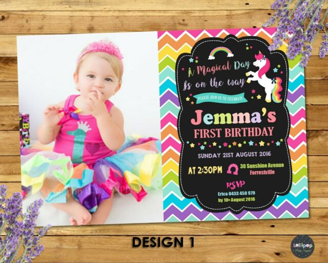 UNICORN PARTY INVITATION 1ST FIRST BIRTHDAY INVITES RAINBOW PERSONALISED PHOTO