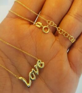"""14K Solid Yellow Gold Love Necklace Pendant Rolo Chain 17"""" to 18""""1.6 grams"""