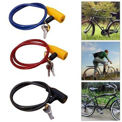 Bicycle Bike Anti-Theft Security Steel Cable Lock Chain WITH 2 Keys Black