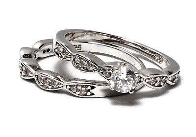 925 Sterling Silver Women's Wedding Engagement Bridal Lab Diamonds Ring Set