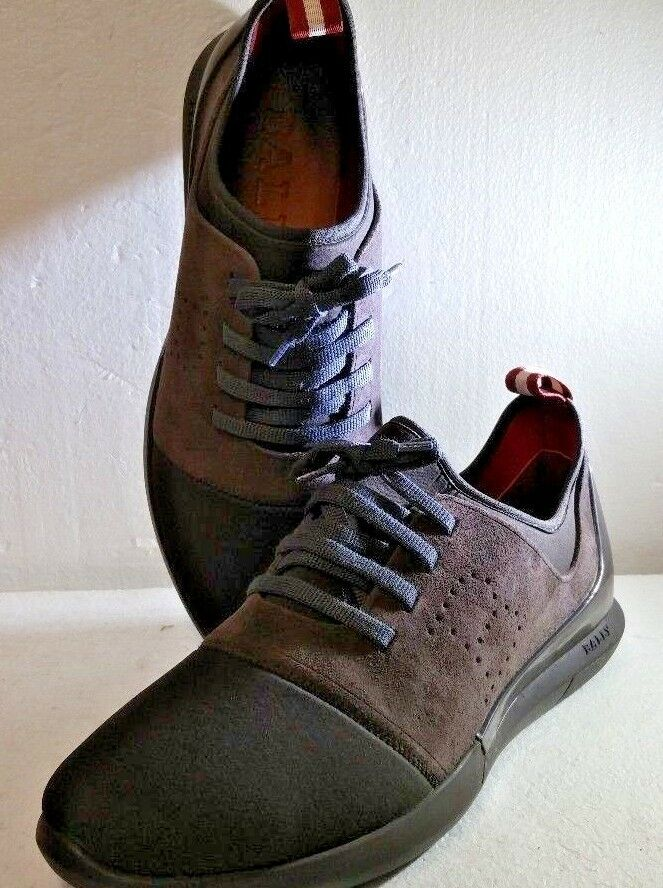 Bally Avro Leather & Neoprene Trainer Sneaker, Bark Calf Suede, Size 10 US, NEW