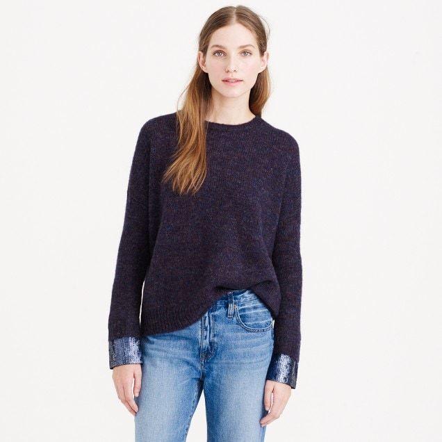 J Crew Wool Mohair Blend bluee Sequin Cuff Sweater M Medium  RARE