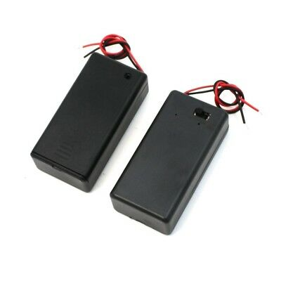 Pair 9V Battery Holder Storage Case ON/OFF Switch w Cap 2 pcs Z9W4