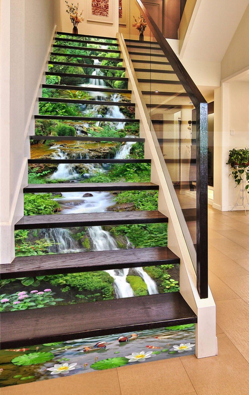 3D Green Creek 320 Stairs Risers Decoration Photo Mural Vinyl Decal Wallpaper US