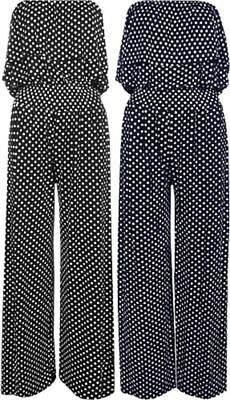 New Ladies Polka Dot Bandeau Frill Top Wide Palazzo Leg Jumpsuit Plus Size 8-22