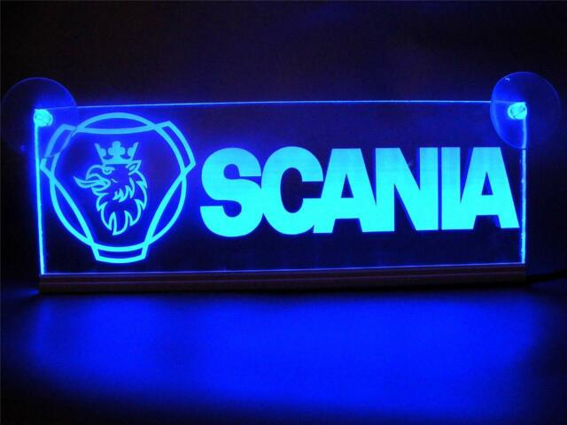 24 Volts SCANIA WITH LOGO ENGRAVED ILLUMINATING PLATES 24V/5W BLUE LED COLOR