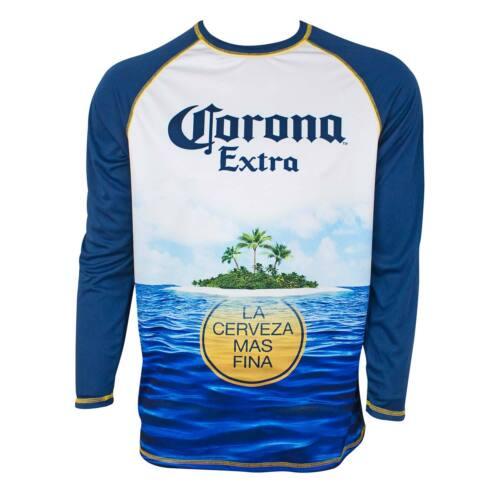 Corona Extra Long Sleeve Men/'s Rash Guard Tee Shirt Blue