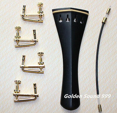 High quality ebony Violin Tailpiece 4/4 size with Tail Gut four fine tuners