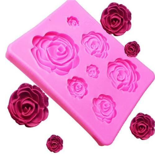Multi fleur Rose Moule silicone Argile Gâteau chocolat moule fondant décoration Ke