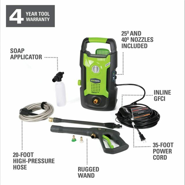 Greenworks GPW1501 1500PSI 13 Amp 1.2GPM Pressure Washer