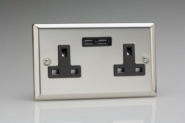 Varilight 2-Gang 13A Double Pole Switched Plug Socket + 2 5V DC 2100mA USB Charg