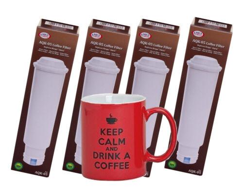 4 x Wasserfilter für Melitta kompatibel mit Claris Pro Aqua Motiv-Kaffeetasse