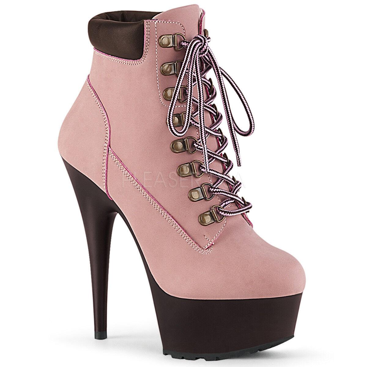 Bebé rosado trabajador de construcción Trabajo Trabajo Trabajo botas Tacones Altos Mujer Al Tobillo Botines 8 9 10 252ad5