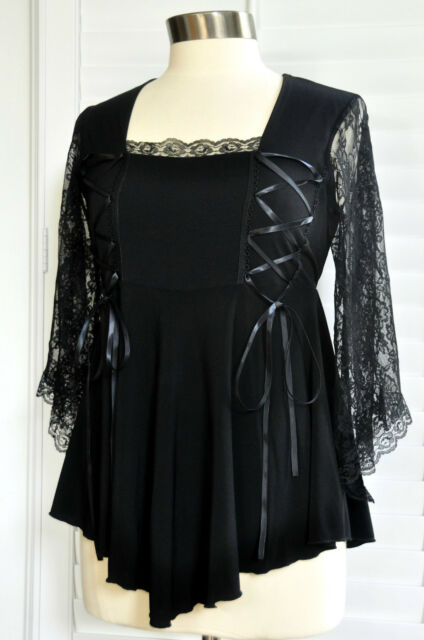 Dare to Wear ANASTASIA Lace Sleeves BLACK Corset Top Jr & Plus Size Small to 5X