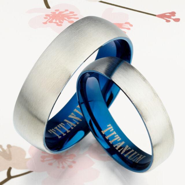 Blue Groom Bride Unisex Wedding Anniversary Engagement Titanium Ring Set 1UK090