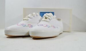5acd400cc128 Vintage 90s New Keds Girls 3.5 Miss Champion Leather Linked Hearts ...