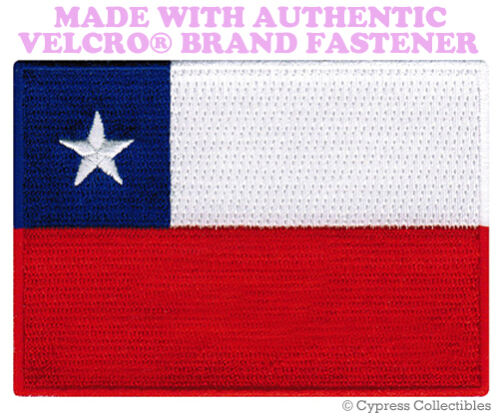 CHILE FLAG PATCH EMBROIDERED CHILEAN SOUVENIR PARCHE w// VELCRO® Brand Fastener
