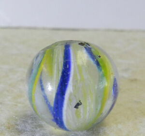 #12918m Vintage German Handmade 2 Color Latticino Swirl Marble .62 Inches