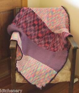 Purple-Rainbow-Knit-Throw-Nanna-Blanket-Mauve-Pink-Pastels-Knee-Rug-100cm-x-88cm