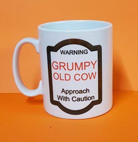 NOVELTY BEWARE GRUMPY OLD COW COFFEE//TEA MUG UK P/&P FREE