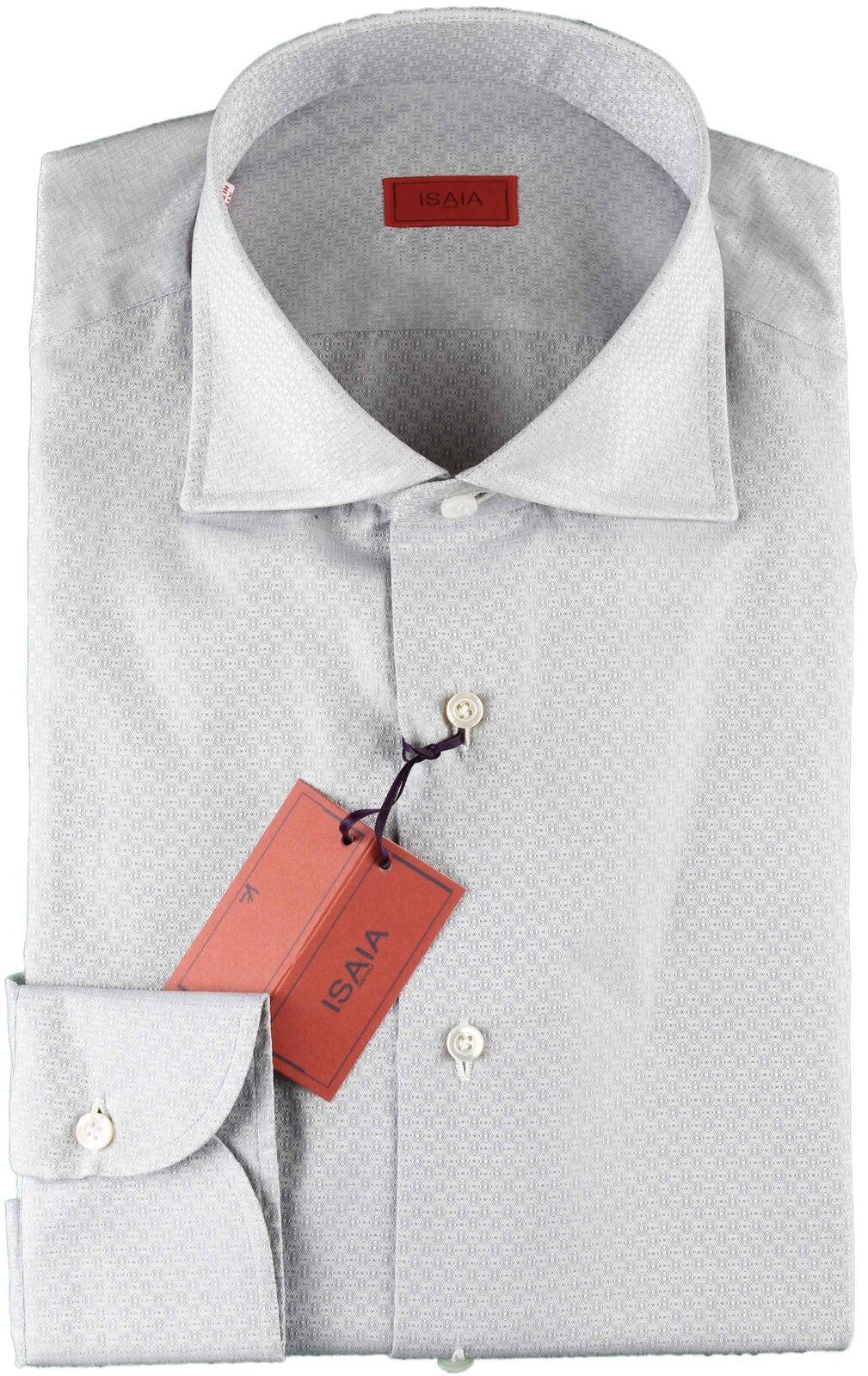 NWT ISAIA DRESS hemd grau luxury handmade  40 15 3 4