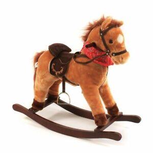 Bayer Chic 2000 Schaukelpferd Cowboy 46 cm mit Sound rostbraun Holzspielzeug