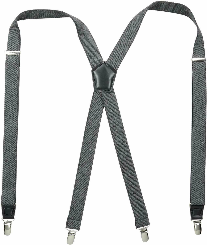 Dockers Suspenders Men-Heavy Duty Clips X Back Adjustable Straps charcoal gray