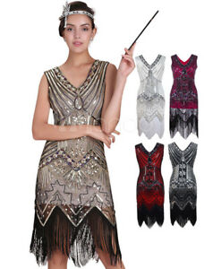 Great-Gatsby-Flapper-1920s-Costume-Womens-Vintage-Apricot-Sequined-Tassels-Dress