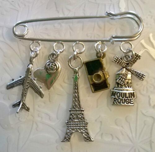 Paris Broche Paris Faldita Pin ~ Torre Eiffel ~ Bolsa encanto ~ Tibetano Plata Regalo De Recuerdo