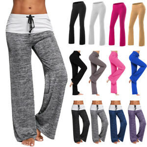 Women-Foldover-Trousers-Flare-Wide-Leg-Heather-Long-Loose-Harem-Comfy-Yoga-Pants