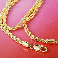 "14K Yellow Gold Filled Men's Rope Necklace Knot 24"" Twist Link Chain Jewelry"