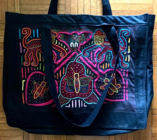 Ethnic TOTE Embroidered monkey & butterfly motif,