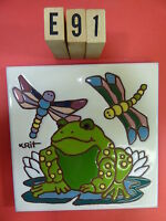 Ceramic Art Tile 6x6 Krit Frog On Lily Pad With Dragonflies Hand Painted E91