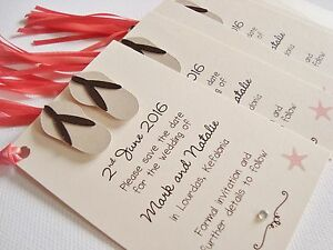 Set of 10 Personalised Handmade Flip Flop Beach Wedding Thank You Cards