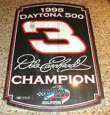"DALE EARNHARDT #3 NASCAR 40th DAYTONA 500 CHAMPION WOOD SIGN 1998 11""X 17"""
