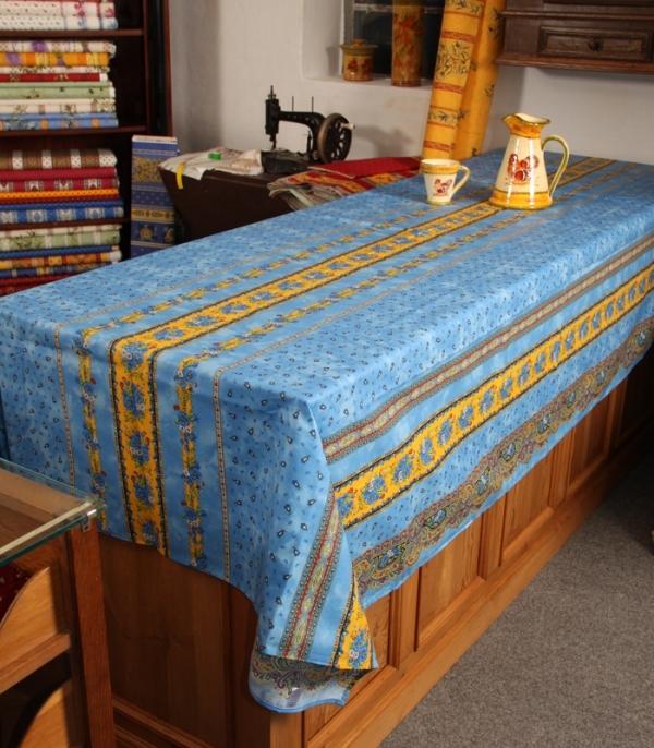 Non Enduit 100% coton rectangle 60x120 + 8 serviettes Marat Bleu Provence Tabletop